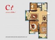 C1 三室两厅一厨一卫阳台 118㎡