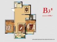 B3 两室一厨一卫一阳台 118㎡