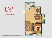 C2 两室两厅一厨一卫一阳台 119㎡