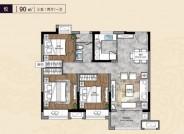 建筑面积90㎡,三室两厅一卫